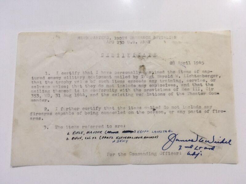 Rarer WWII US Bring Back Certificate 1945 German SWORDS SHOTGUN RIFLE WALTHER