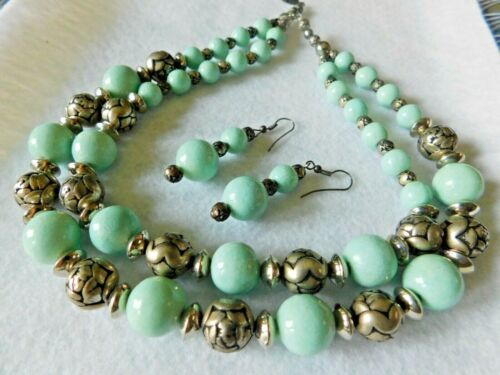2 Strand Necklace & Pair Dangle Earrings Turquoise Tn & Carved Rose Silver Beads