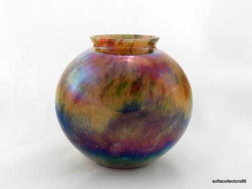 Kralik Iridescent Cased Powder Décor Round Vase w Czechoslovakia Mark ca. 1920s