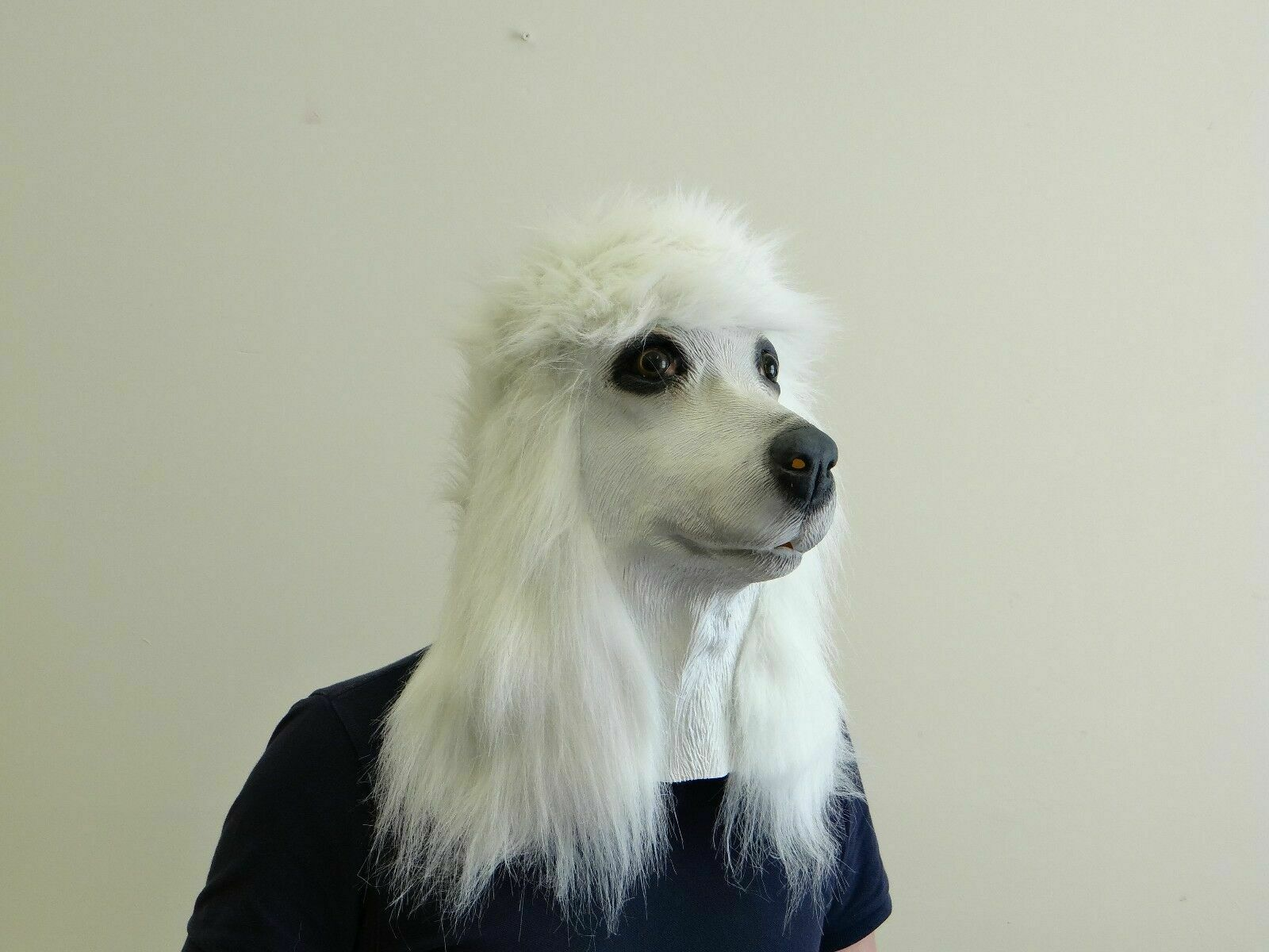 Weißer Pudel Hund Maske Latex Hund Voller Kopf Tierkostüm Masken