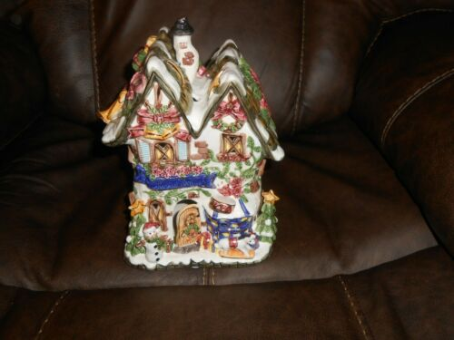 "Kmart 10"" Ceramic Christmas Dazzle House Cottage Tealight Candleholder 24K Gold"