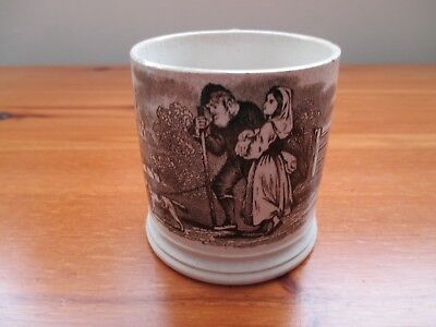 ANTIQUE 19TH CENTURY CHILD'S MUG WITH TRANSFER PRINT OF A GIRL, OLD MAN AND DOG