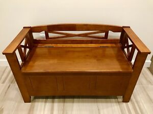 Wooden bench with storage - excellent condition