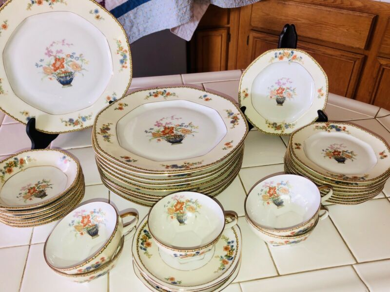 1800s VTG MZ ALTROHLAU Pattern Diana Czech Fine China Dinner 32pc Set~Holiday!