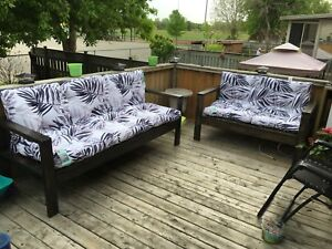 Outdoor couch and love seat.