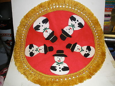 "vintage 16"" across Christmas Tree skirt red gold with Snowmen"