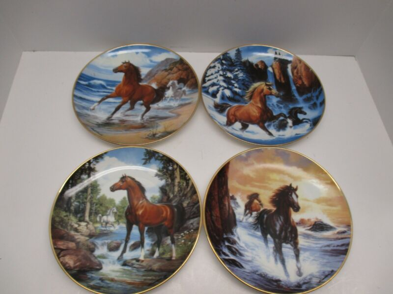 The Franklin Mint Collector Plates Lot Of 4 Horse Plates
