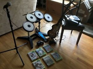 Xbox 360 with games, controllers, Beatles Rockband