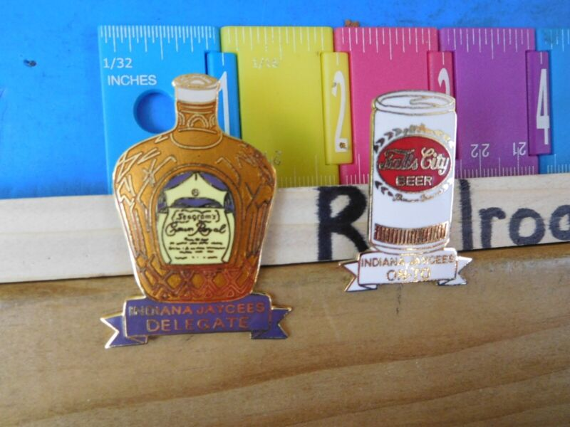 Jaycees Indiana (2) Crown Royal delegate Falls City Beer On-TO