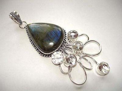 AB Blue-Fire Labradorite White Topaz Silver One-Of-A-Kind Pendant Necklace 3.5