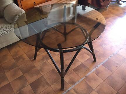 ROUND GLASS TOP CANE DINING TABLE