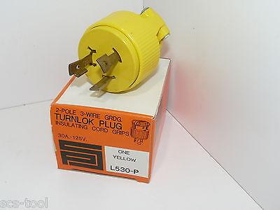 Pass Seymour L5-30P 125V 30a Yellow Twist Lock Generator RV Plug L530P L530 USA