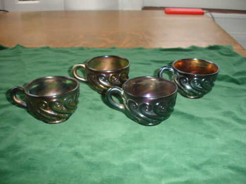 Lot of 4 Vintage Dugan Carnival Glass Amethyst Punch Cups S Repeat Pattern
