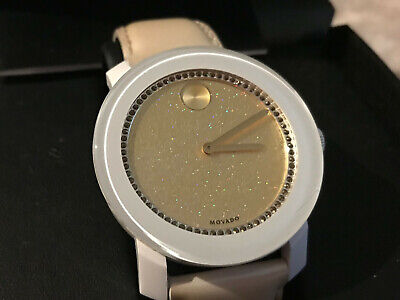 Movado 3600220 Womens Swiss Bold White Pearlized Patent Leather Strap Watch 42mm