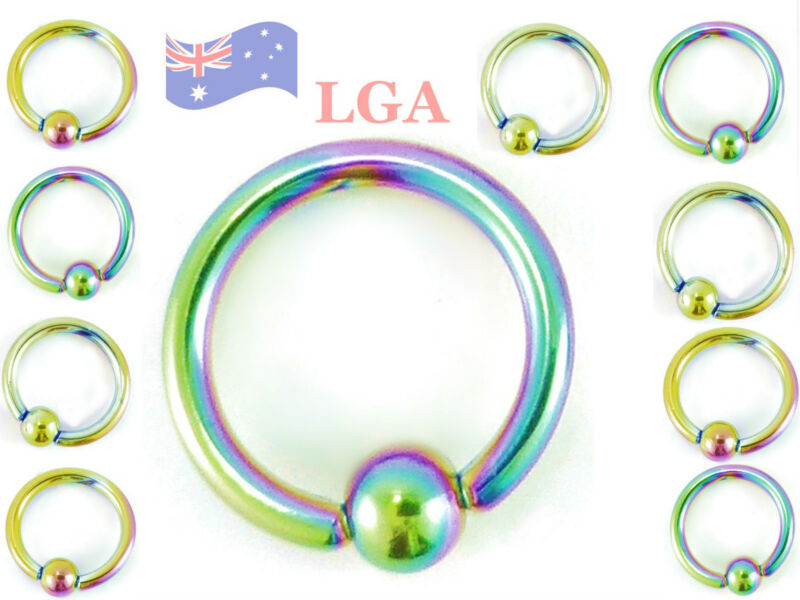 10 CAPTIVE Bead Rings CBR - RAINBOW Anodized Titanium 18g 8mm eyebrow ear nose