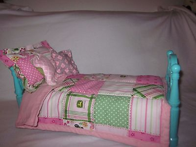 18 inch doll accessories/bedding set only/patchwork comforter/4 pillows