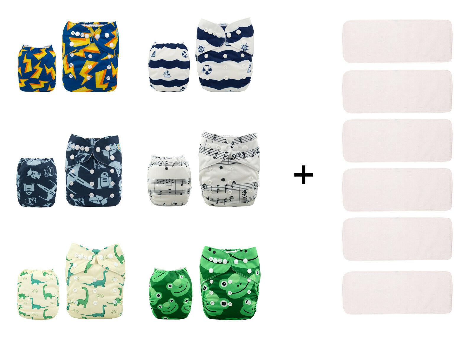 6 ALVA Baby Reusable Cloth Diapers Washable Pocket Nappies+