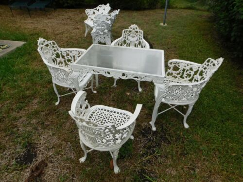 Antique/Vintage Cast Iron Victorian 5 pc Heavy Garden Table and Chairs