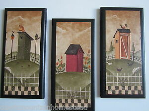 Outhouses 3 Rustic Lodge Bath Wall Decor Primitive Country Cabin Signs