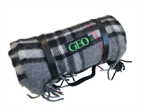 GEO Picknickdecke Überwurfdecke Decke Wolle 165x135 cm schwarz-grau kariert NEU