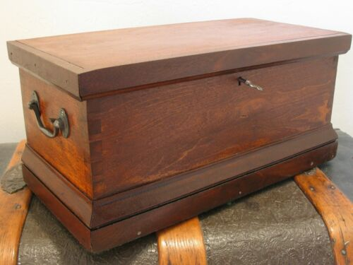 "Antique Dovetail 16 3/4"" Document Storage Chest Box"