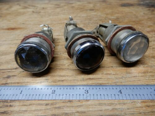"Three Vintage 1"" Diameter Faceted Bezel Panel Indicator Lights Screw Base"