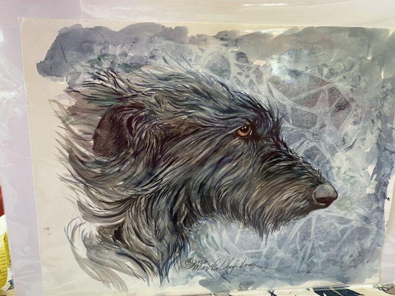 Original Watercolor Of Scottish Deerhound By Martha Van Loan 9x12 2020