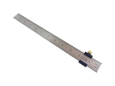 Ruler Stop Fence With 12 Machinist Rule Anodized Brass Knob Taytools 108880