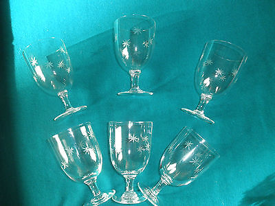 6 VINTAGE  HAND BLOWN&HAND EDGED  WINE GLASSES- PRE OWNED VERY DELICATE