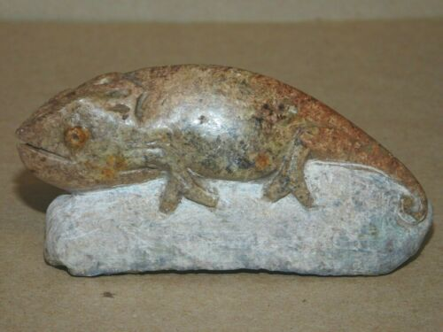 Chameleon lizard carving  Brown serpentine stone Shona Zimbabwe African Art #9