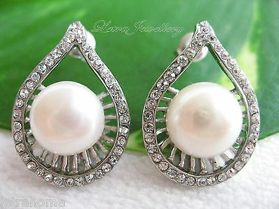 Round Real Cultured White Freshwater Pearl Platinum Plated Tear Drop Earrings