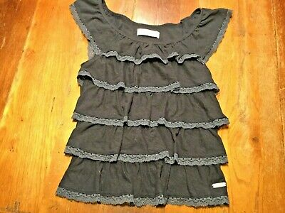 ABERCROMBIE KIDS navy blue ruffled tiers  top~Girls Sz M/8