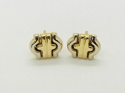 (Gorgeous Estate 18k Two tone Yellow & White Gold Flexible Wing Cross Earrings)