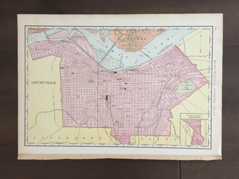 """Large 21"""" X 14"""" COLOR Map of the city of Louisville, Kentucky -(1905)"""