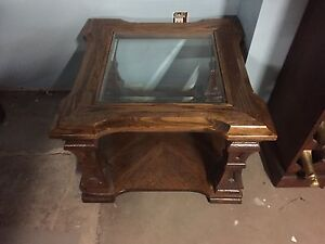 Wood and glass end table.