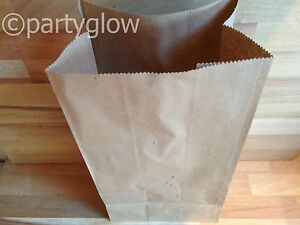 Brown Kraft Block Bottom Paper Bag Deli Bags Lunch Bag Picnic Bags - 100 x Sml