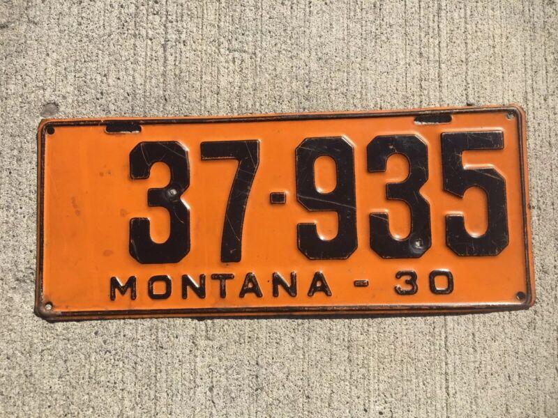 1930 Montana License Plate Vintage Number Tag 37 - 935
