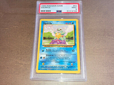 Pokemon PSA 9 MINT Base set Unlimited Squirtle Card 1999 Game #53 Original