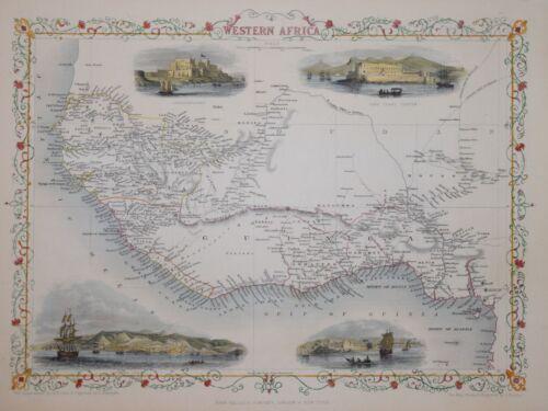 WESTERN AFRICA BY JOHN TALLIS CIRCA 1850.