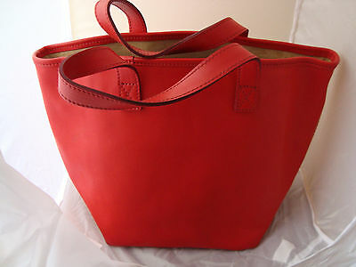 J&M DAVIDSON RED LEATHER SMALL TOTE BAG