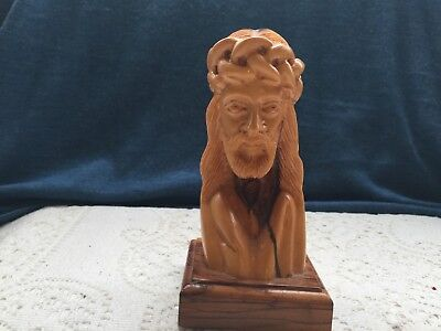 """Olive Wood Hand Carved  5"""" Jesus Christ Thorns Crucifixion Head Bust Figure"""