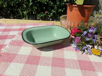 Pretty Vintage Enamel Green Pie Pudding Dish Baking Kitchenalia Farmhouse Chic