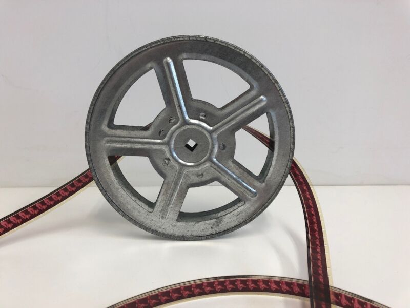 """Antique Russian 16mm 7"""" 400ft Metal Film Reel Silver Rugged Very Good Condition"""