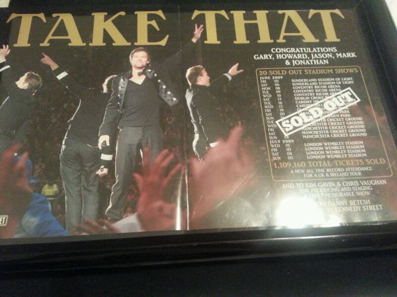 Take That 2009 Stadium Tour Promo Poster Ad Framed! Printed Once!