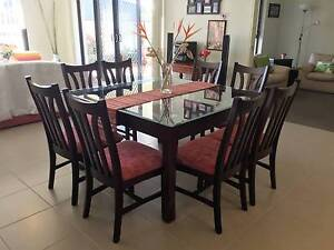 GLASS TOPPED DINING TABLE WITH 8 CHAIRS -  VERY GOOD CONDITION Wellington Point Redland Area Preview