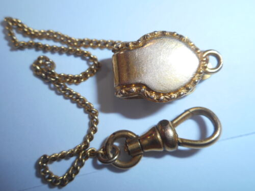 14K Yellow Gold Antique Victorian Watch Fob Chain 100 years old