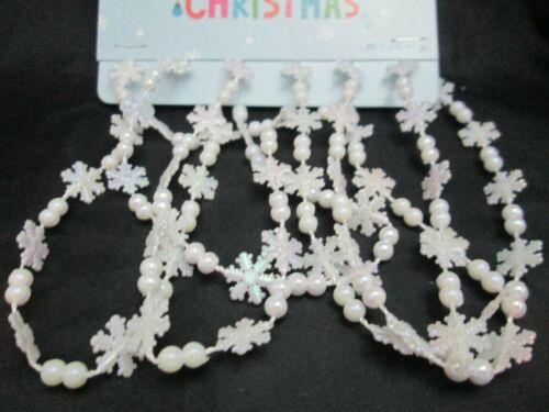 Christmas 4 Feet Plastic Miniature AB White Snowflake Garland