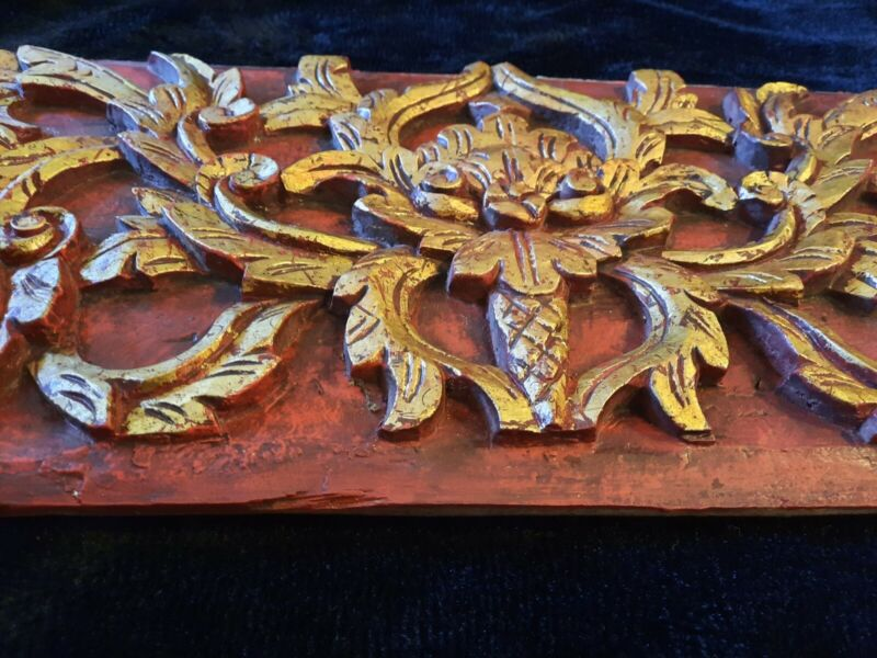 """ANTIQUE 19 c. ELABORATE HUGE 46"""" GILDED CHINESE WALL PANEL RELIEF WOOD CARVING"""