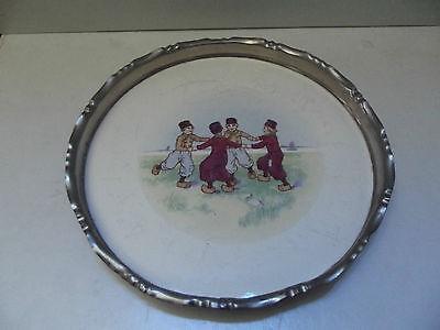 Alte Platte Tablett Keramik Holländisches Motiv Metallfassung