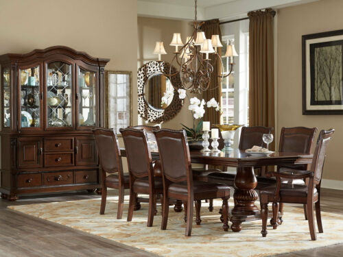 New 9 Piece Traditional Brown Dining Room Rectangular Table And 8 Chairs Set C5m